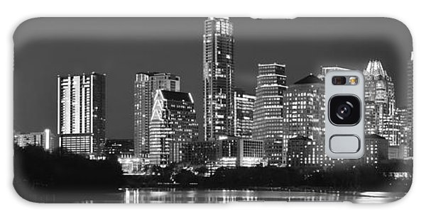 Austin Skyline At Night Black And White Bw Panorama Texas Galaxy Case