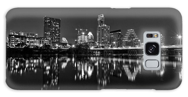 Austin Skyline At Night Black And White Galaxy Case