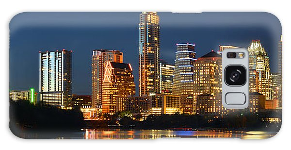 Austin Skyline At Night Color Panorama Texas Galaxy Case