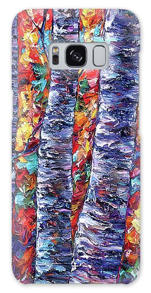 Autumn  Aspen Trees Contemporary Painting  Galaxy Case