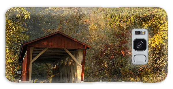 Autumn Covered Bridge Galaxy Case