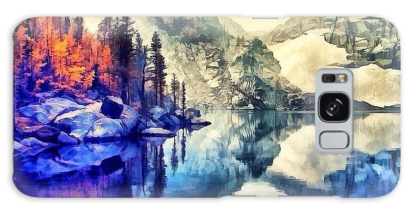 Autumn Day On The Lake. Galaxy Case
