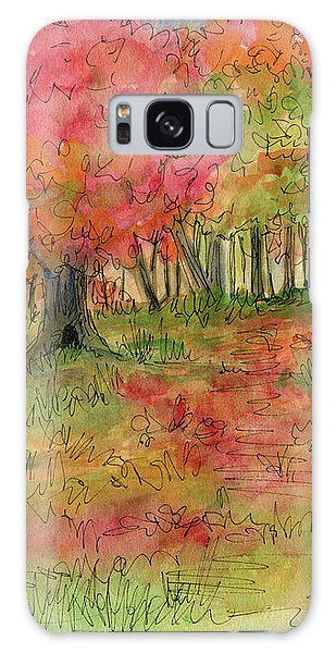 Autumn Forest Watercolor Illustration Galaxy Case