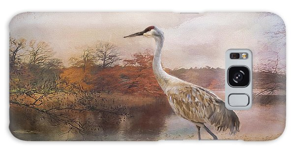 Autumn Lake Crane Galaxy Case