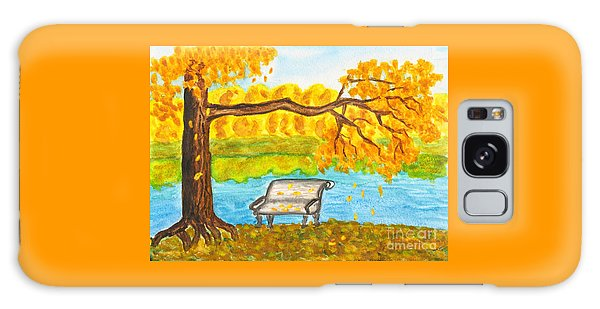 Autumn Landscape With Tree And Bench, Painting Galaxy Case