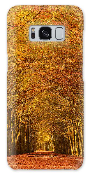 Autumn Lane In An Orange Forest Galaxy Case by IPics Photography