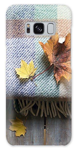Autumn Leaves On Wool Plaid Blanket Galaxy Case