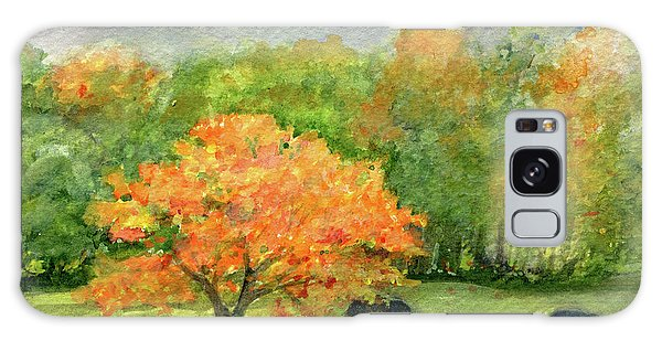 Autumn Maple With Horses Grazing Galaxy Case