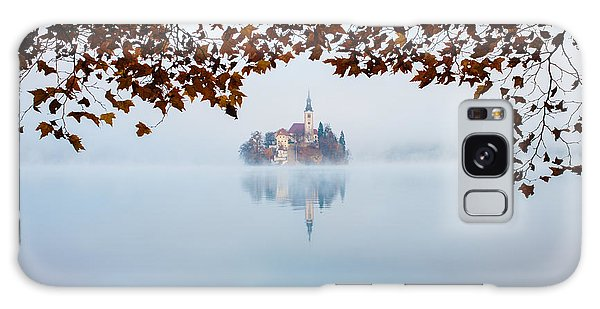 Autumn Mist Over Lake Bled Galaxy Case by Ian Middleton