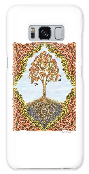 Autumn Tree With Knotted Roots And Knotted Border Galaxy Case by Lise Winne