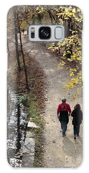 Autumn Walk On The C And O Canal Towpath With Oil Painting Effect Galaxy Case