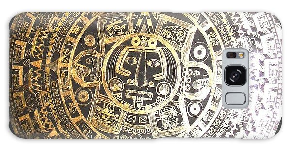 Galaxy Case featuring the drawing Aztec Calendar by Michelle Dallocchio