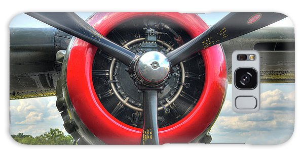 Galaxy Case featuring the photograph B 25 Red Trimmed Engine by Gary Slawsky
