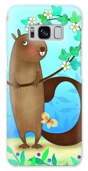 B Is For Beaver With A Blossoming Branch Galaxy Case