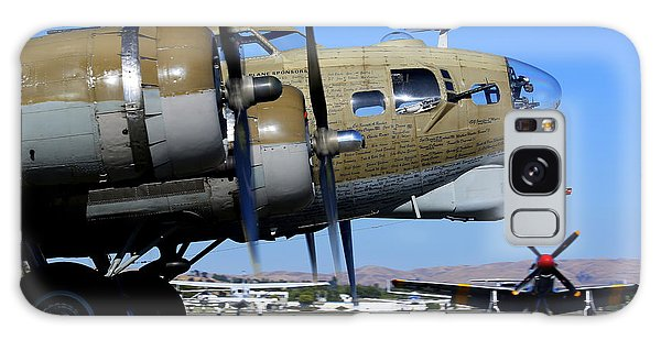 Galaxy Case featuring the photograph B17 Flying Fortress Taxis In Front Of P51 Mustang Betty Jean by John King