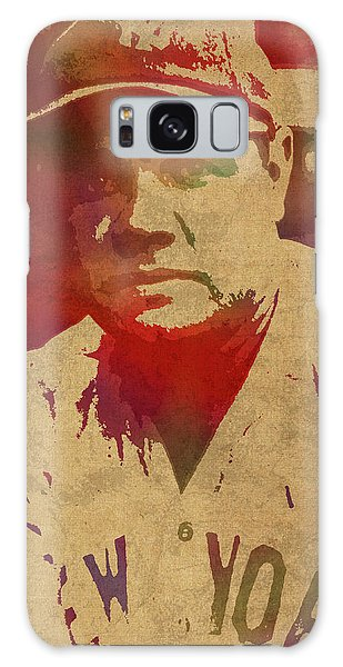 Babe Ruth Baseball Player New York Yankees Vintage Watercolor Portrait On Worn Canvas Galaxy Case