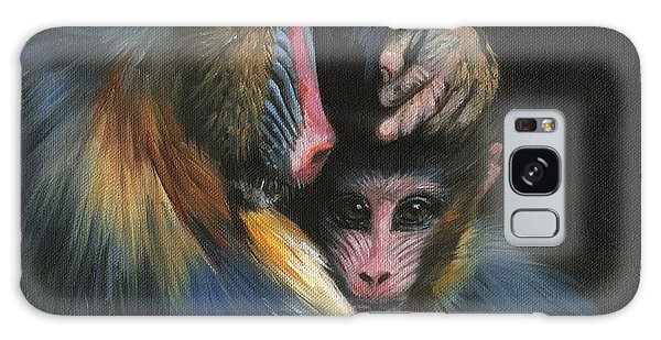 Baboon Mother And Baby Galaxy Case by David Stribbling