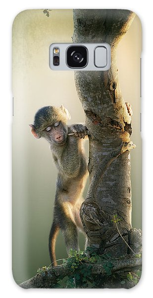 Foliage Galaxy Case - Baby Baboon In Tree by Johan Swanepoel