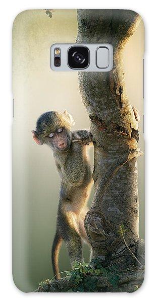 Foliage Galaxy Case - Baby Baboon In Tree by Johan Swanepoel