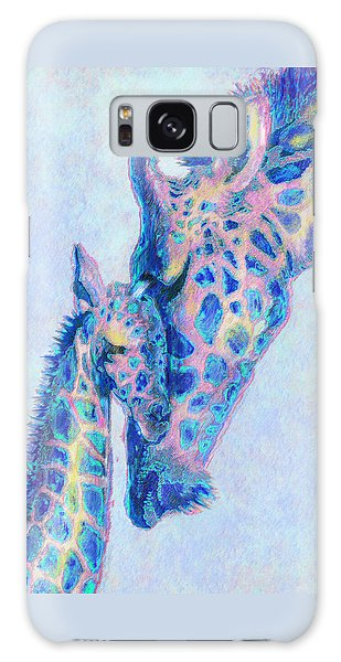 Baby Blue  Giraffes Galaxy Case by Jane Schnetlage