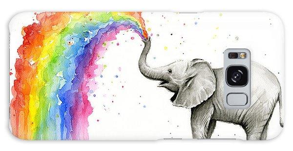 Rainbow Galaxy Case - Baby Elephant Spraying Rainbow by Olga Shvartsur