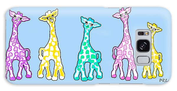 Baby Giraffes In A Row Pastels Galaxy Case