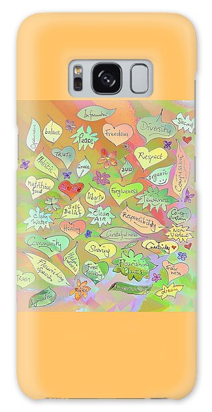 Back To The Garden Leaves, Hearts, Flowers, With Words Galaxy Case