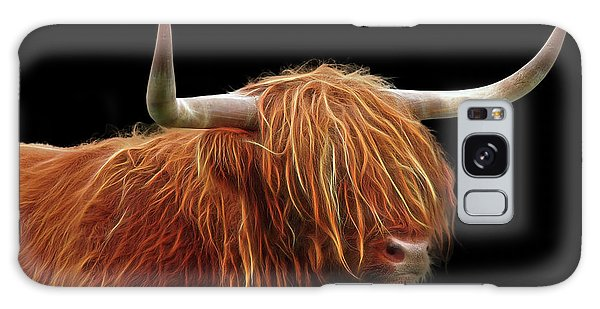 Bad Hair Day - Highland Cow - On Black Galaxy Case