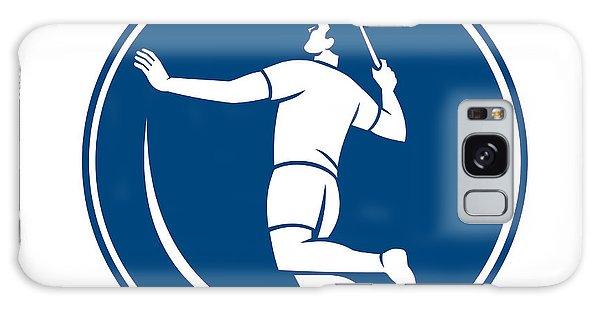 Sportsman Galaxy Case - Badminton Player Jump Smash Circle Icon by Aloysius Patrimonio