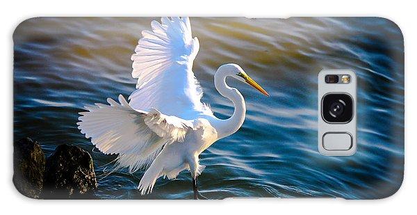 Balancing Act  Great White Egret  Galaxy Case