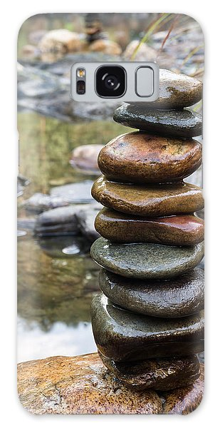 Balancing Zen Stones In Countryside River Vii Galaxy Case