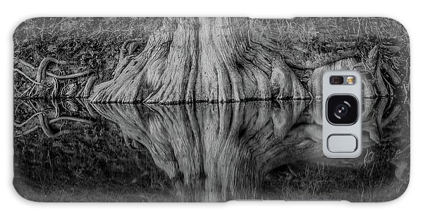Bald Cypress Reflection In Black And White Galaxy Case