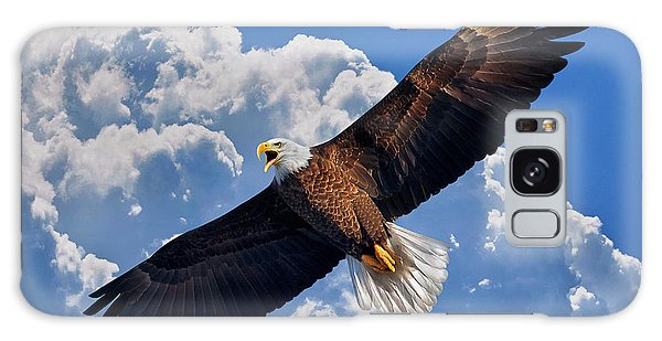 Bald Eagle In Flight Calling Out Galaxy Case by Justin Kelefas