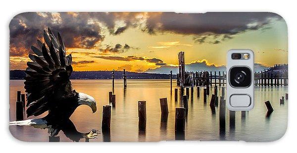 Bald Eagle Landing At Beach As Sun Sets Galaxy Case