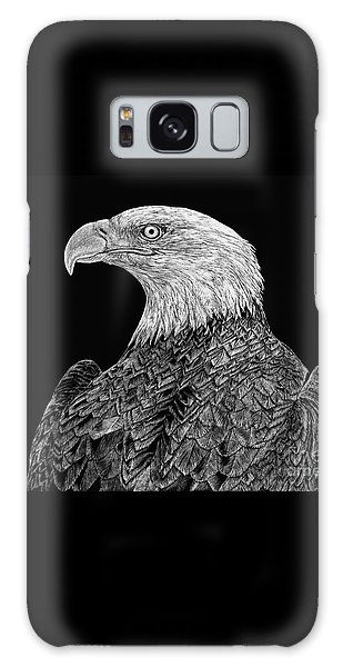 Bald Eagle Scratchboard Galaxy Case
