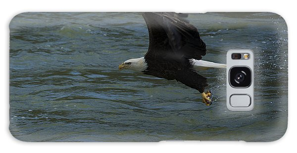 Bald Eagle With Fish In Claws Flying Over The French Broad River, Tennessee Galaxy Case