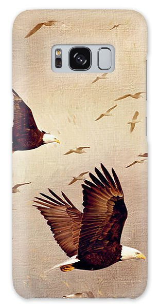 Bald Eagles And Seagulls Galaxy Case
