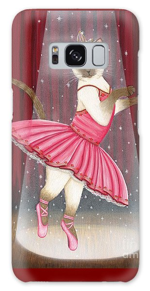 Galaxy Case featuring the painting Ballerina Cat - Dancing Siamese Cat by Carrie Hawks