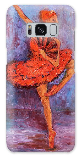 Galaxy Case featuring the painting Ballerina Dancing With A Fan by Xueling Zou