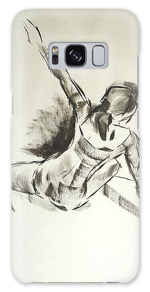 Ballet Dancer Sitting On Floor With Weight On Her Right Arm Galaxy Case
