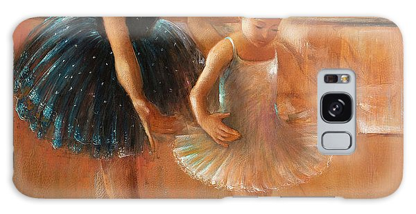 ballet lesson-painting on leather by Vali Irina Ciobanu  Galaxy Case