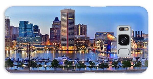 Baltimore Skyline Inner Harbor Panorama At Dusk Galaxy Case