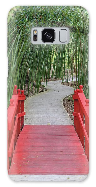 Bamboo Path Through A Red Bridge Galaxy Case