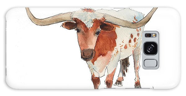Texas Longhorn Bandero Watercolor Painting By Kmcelwaine Galaxy Case