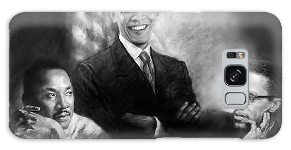 Barack Obama Galaxy Case - Barack Obama Martin Luther King Jr And Malcolm X by Ylli Haruni