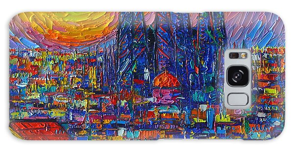 Barcelona Colorful Sunset Over Sagrada Familia Abstract City Knife Oil Painting Ana Maria Edulescu Galaxy Case