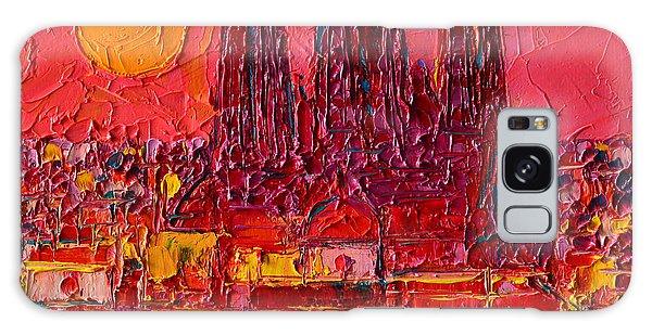 Barcelona Moon Over Sagrada Familia - Palette Knife Oil Painting By Ana Maria Edulescu Galaxy Case