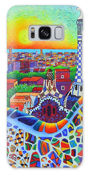 Barcelona Park Guell Sunrise Gaudi Tower Textural Impasto Knife Oil Painting By Ana Maria Edulescu Galaxy Case