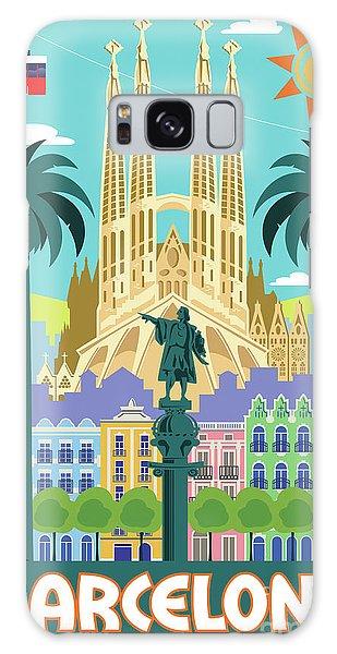 Pop Galaxy Case - Barcelona Poster - Retro Travel  by Jim Zahniser