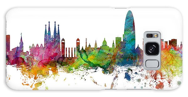 Barcelona Spain Skyline Panoramic Galaxy Case by Michael Tompsett